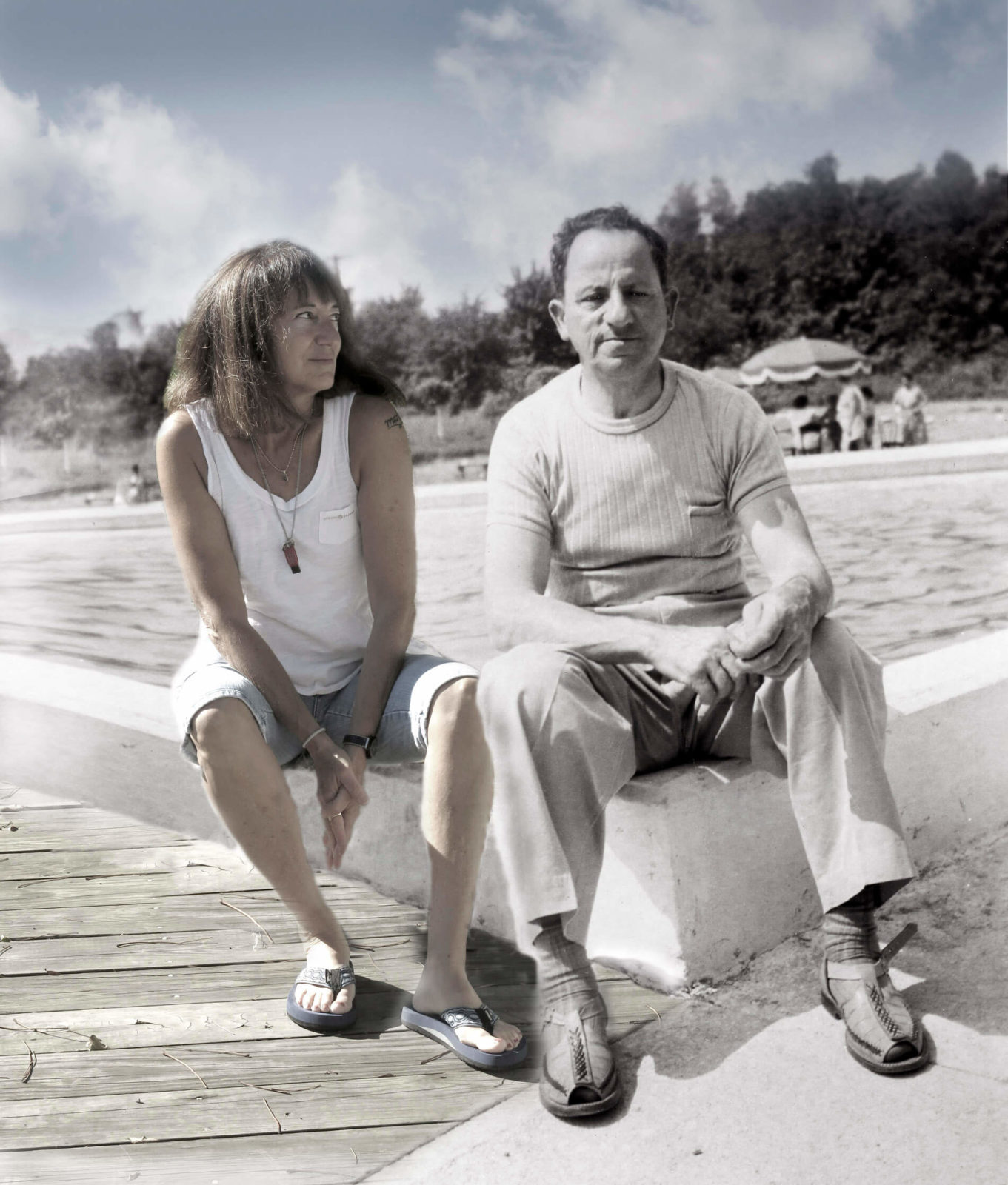 Robin Botie sits by the water with her late grandfather