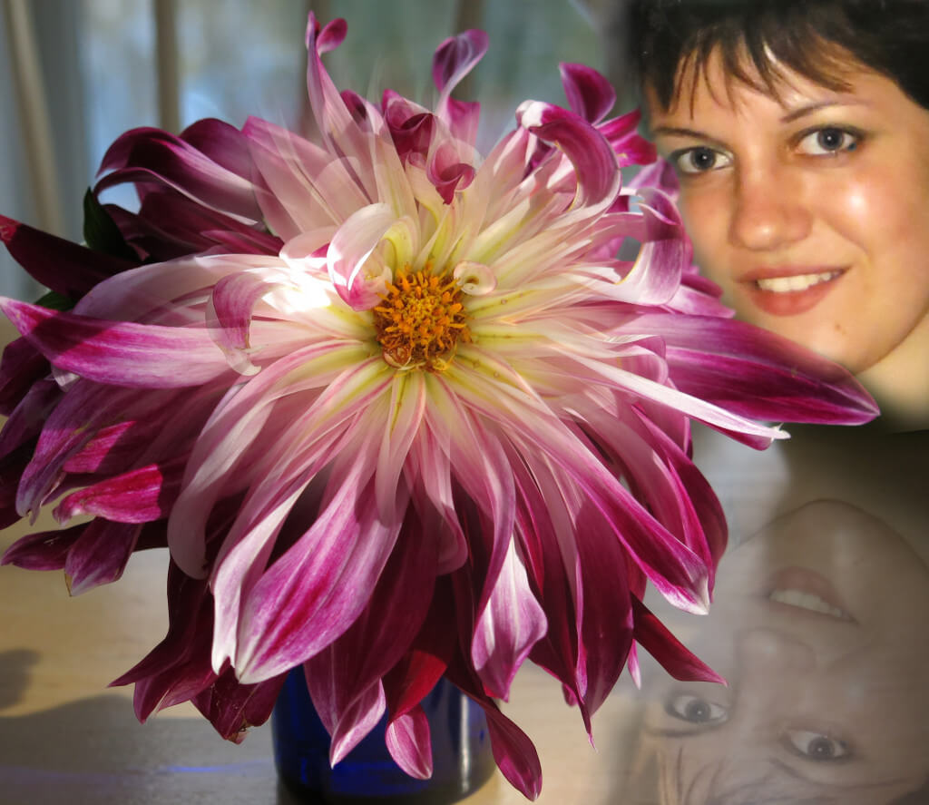 Images of Robin Botie's daughter, Marika Warden, photo-shopped with the last flower from Valentina's garden