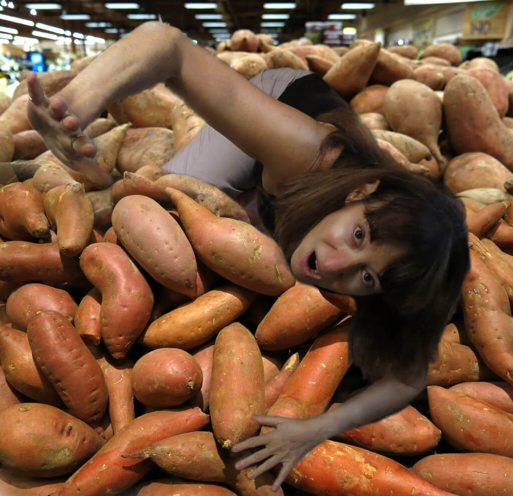 Robin Botie scrambling through the sweet potatoes at Wegmans in Ithaca, New York
