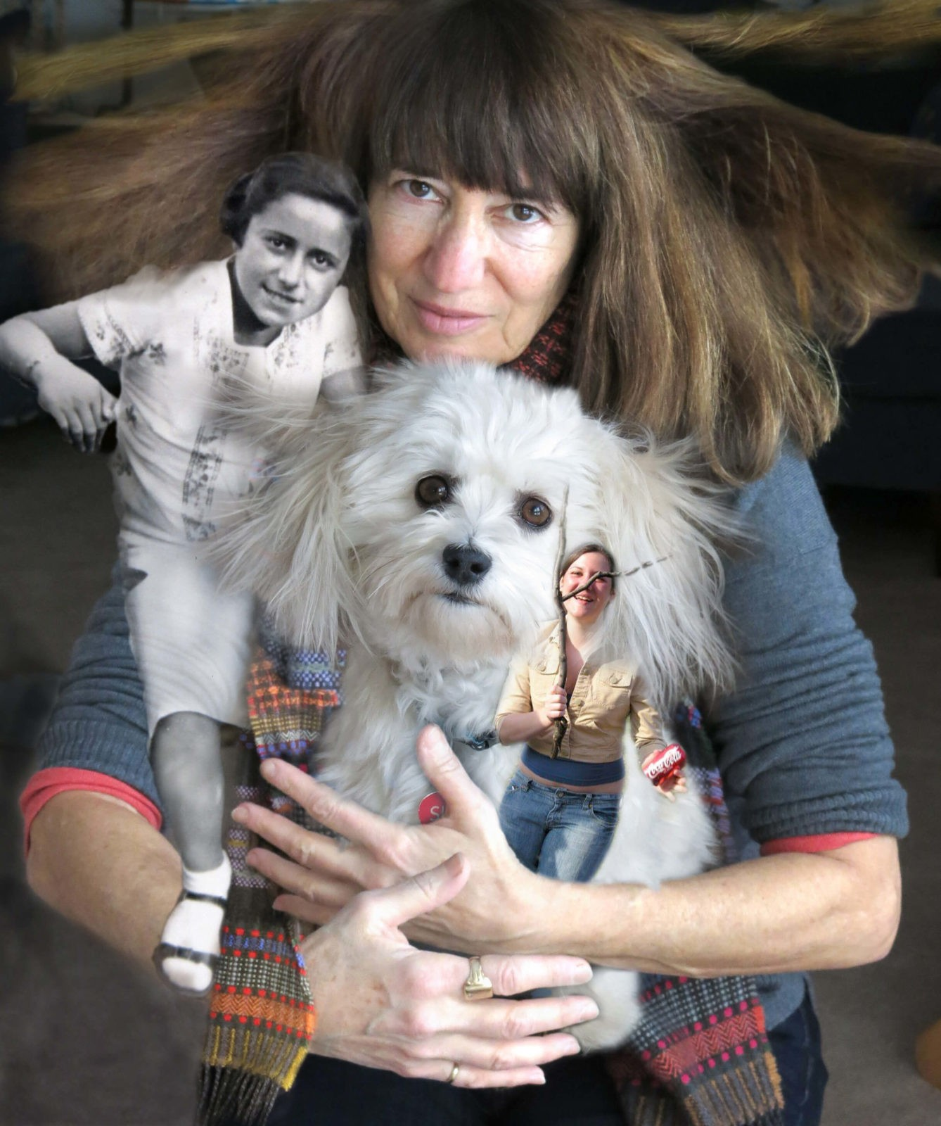 Robin botie in Ithaca, New York, holds her her daughter, Marika Warden, her Aunt Bope as a girl, and her dog.