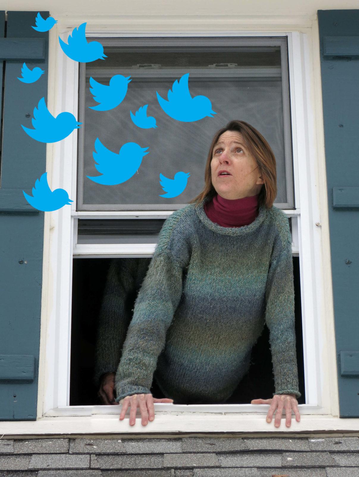 friend of Robin Botie in Ithaca, New York, calls out her window to blue twittwer birds