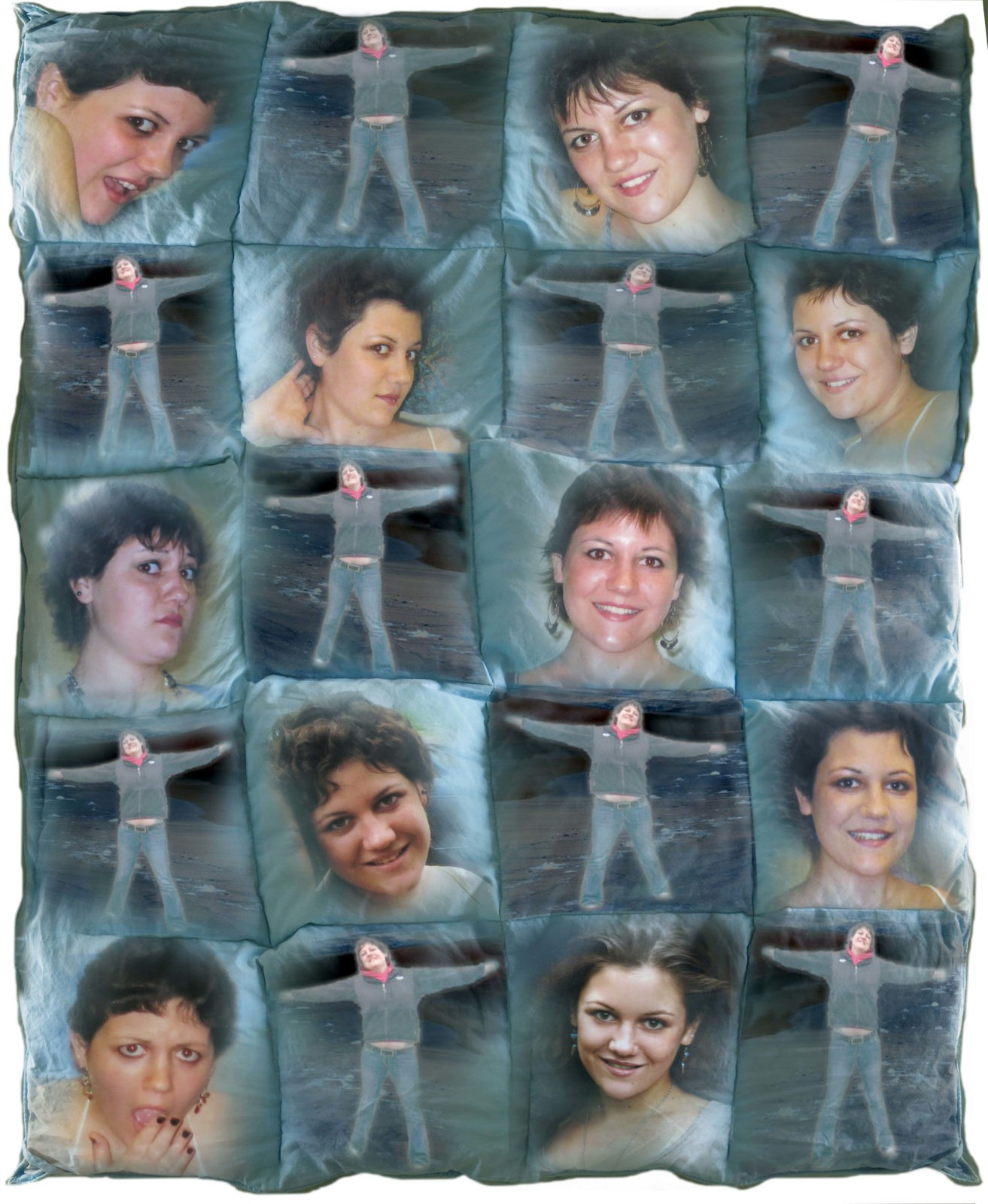 Quilt of photographs by Robin Botie of Ithaca, New York, to remember her daughter who died, Marika Warden.