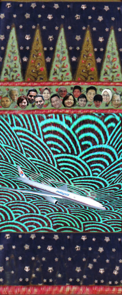 Robin Botie of Ithaca, New York, photoshopped faces of missing passengers from malaysian Airlines Flight 370 onto a Malaysian batik design.
