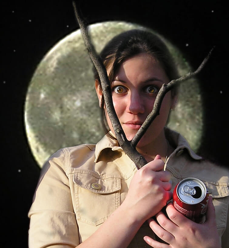 My Daughter's Voice - MarikaInMoon - Robin Botie of Ithaca, New York, photoshops her daughter who died of leukemia at age 20, Marika Warden, in front of a full moon.