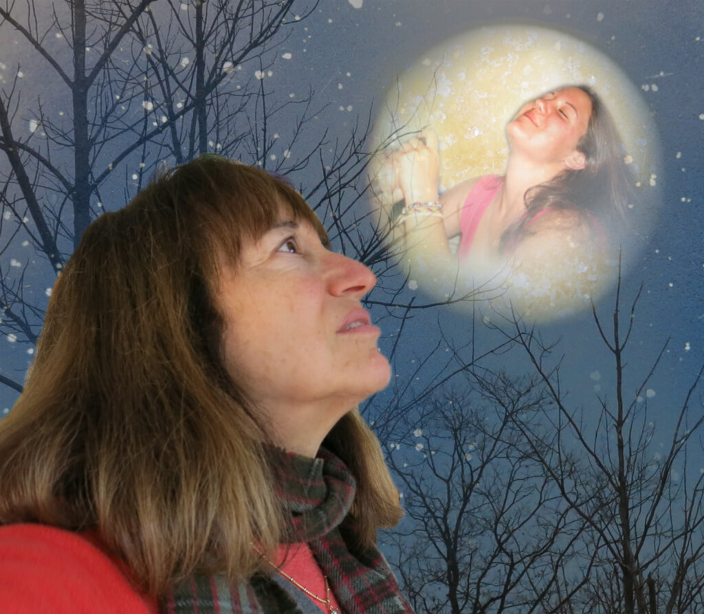 Singing to the Moon, Robin Botie in Ithaca, New York, sings to the moon, to her daughter in the moon.