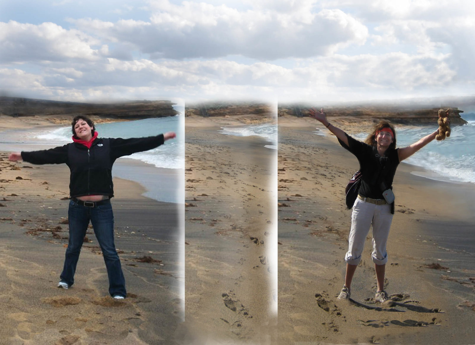 Facing Fears and Getting Gutsy Robin Botie of Ithaca, New York, photoshops images of herself and her daughter who died, Marika Warden, on Bells Beach off the Great Ocean Road in southeast Australia.