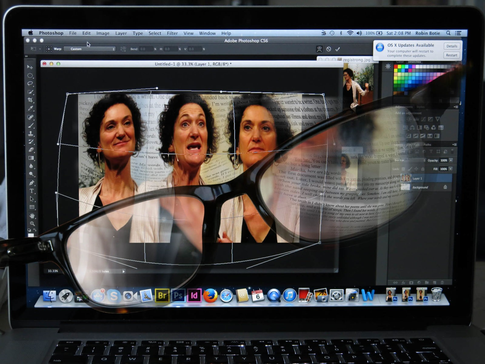 Using progressive eyeglasses, Robin botie of Ithaca, New York, photoshops multiple images of storyteller Regi Carpenter who suffered memory losses before her decent into mental illness.