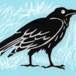 Robin Botie of Ithaca, New York, Photoshops the raven design she made for Silk Oak, an Ithaca-based design studio