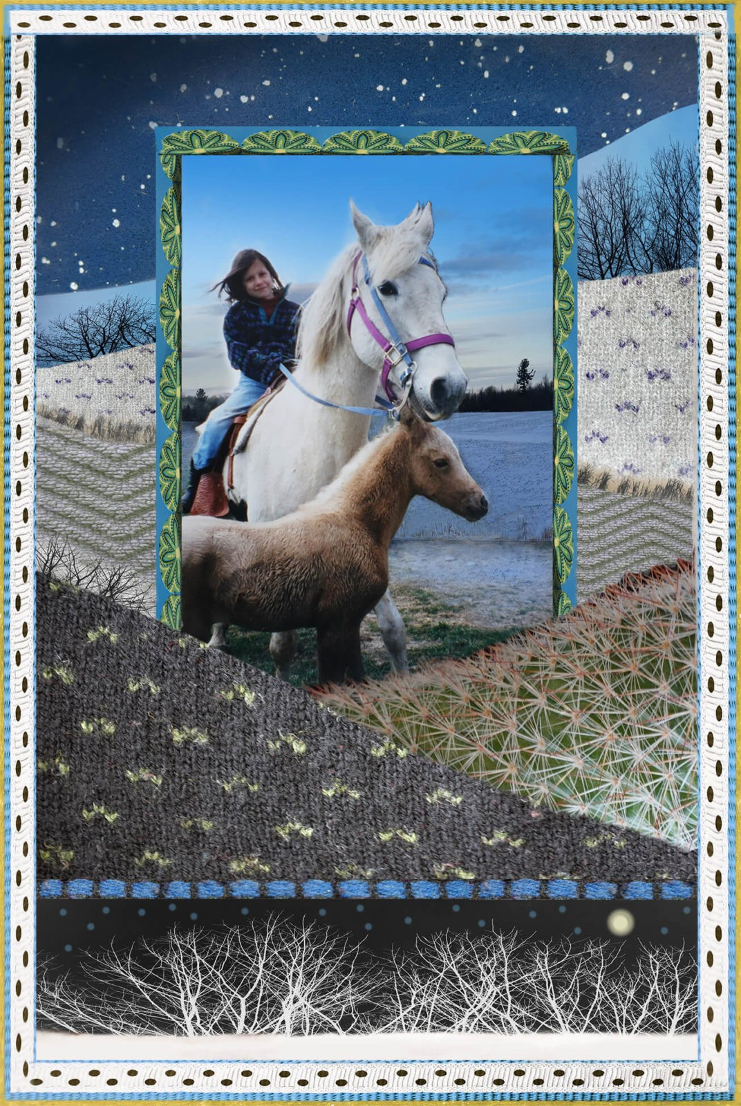Robin Botie of Ithaca, New York, photoshops borders around a picture of her daughter Marika Warden riding in fields with horses.