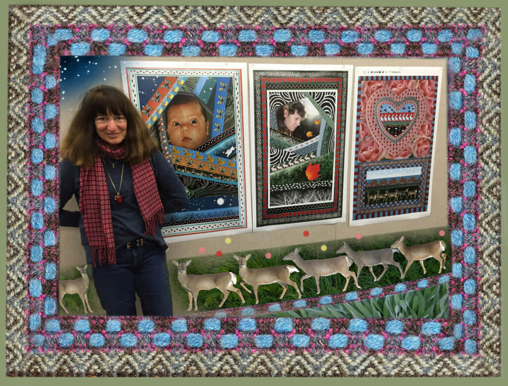Robin Botie of Ithaca, New York, poses with her photoshopped pictures from her new book.