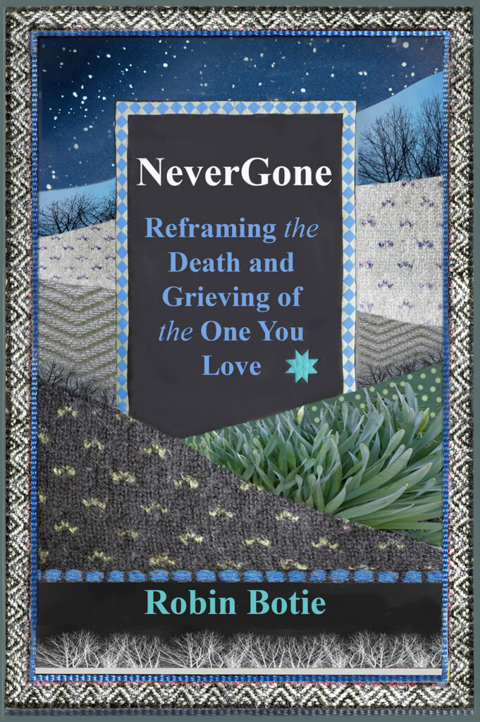 Robin Botie of Ithaca, New York, photoshops the cover of her new book of hope for the grieving.