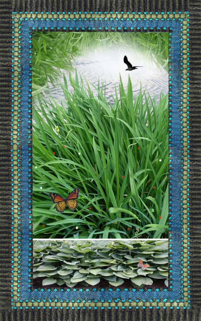 Robin Botie of Ithaca, New York, photoshops daylilies and hosta plants, and birds flying free in a garden of grief.