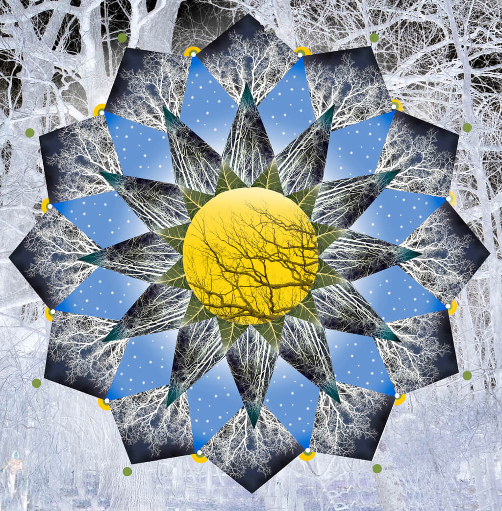 Robin Botie of Ithaca, New York, photoshops a mandala of the supermoon and trees in a kaleidoscope of tears.
