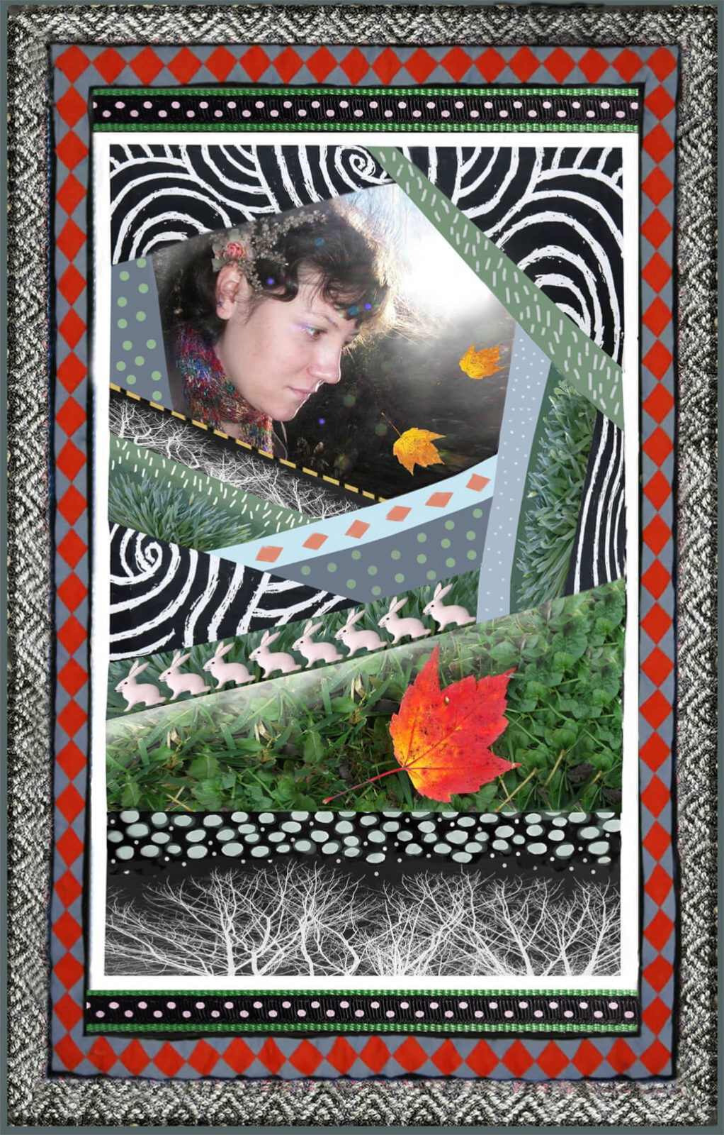 Robin Botie of Ithaca, New York, photoshops her daughter Marika Warden who died of leukemia into a montage of layers and decorative borders.