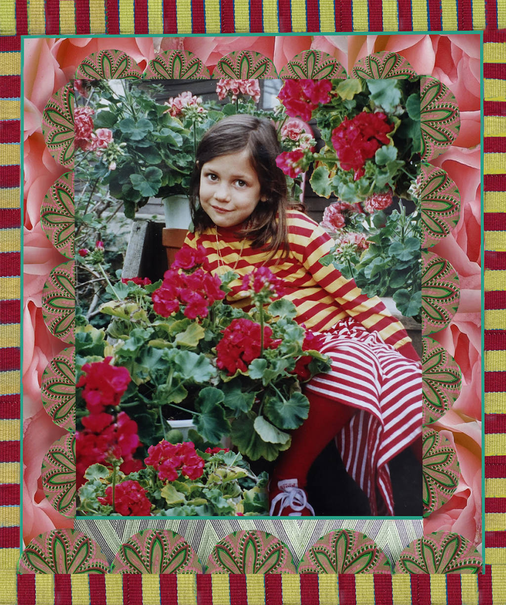 Robin Botie of Ithaca, New York, photoshops a valentine of her daughter who died using roses, geraniums, and ribbons to illustrate the things we do for love.