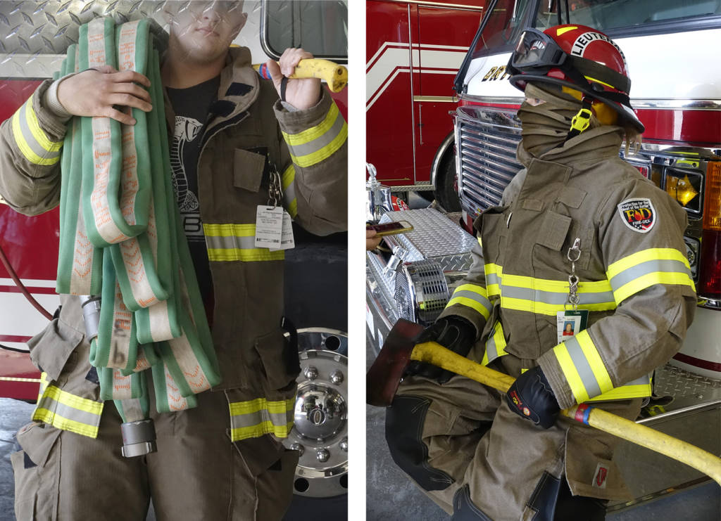 Robin Botie of Ithaca, New York, photoshops photographs of firefighters when they are not trying to save lives, to make their portraits anonymous, unidentifiable.