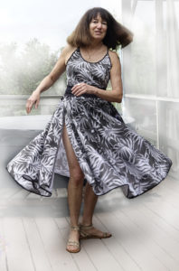 Robin Botie of Ithaca, New York, has a photo printed on fabric and sews it into a dress.
