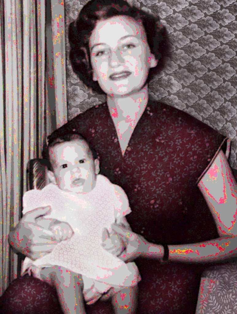 Robin Botie of Ithaca, New York, photoshops color and texture onto an old photo of herself and her mother for a post about expressing thanks and appreciation.