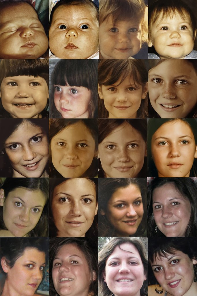 Robin Botie of Ithaca, New York, photoshops time ticking away by collecting a lifetime of photos of her daughter who died.