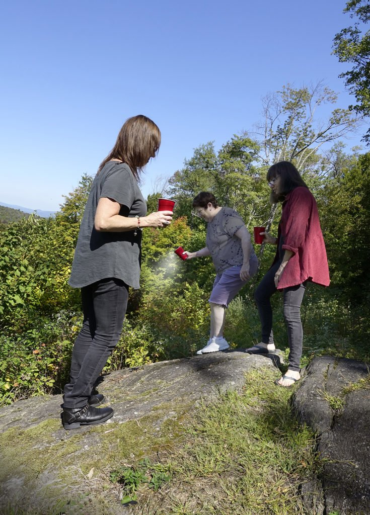 Robin Botie of Ithaca, New York, and sisters scattering their mother's ashes.