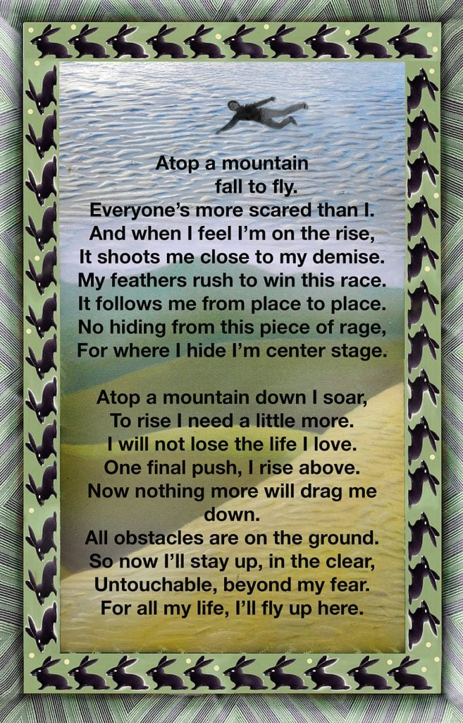 Duetting: Memoir 1 Robin Botie of Ithaca, New York, uses photoshop to print and illustrate a poem written by her daughter who died.