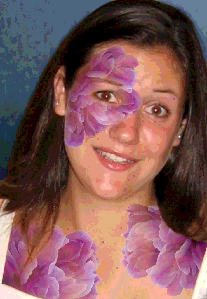Duetting: Memoir 8 Robin Botie of ithaca, New York, photoshops purple bruises big as peonies on her daughter who died of leukemia.