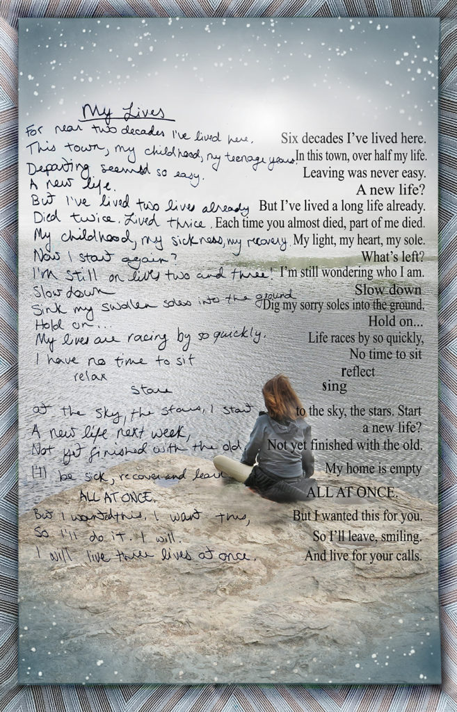 Duetting: Memoir 19 Robin Botie of Ithaca, New York Photoshops a duet of her words and the writings of her daughter who died of cancer.