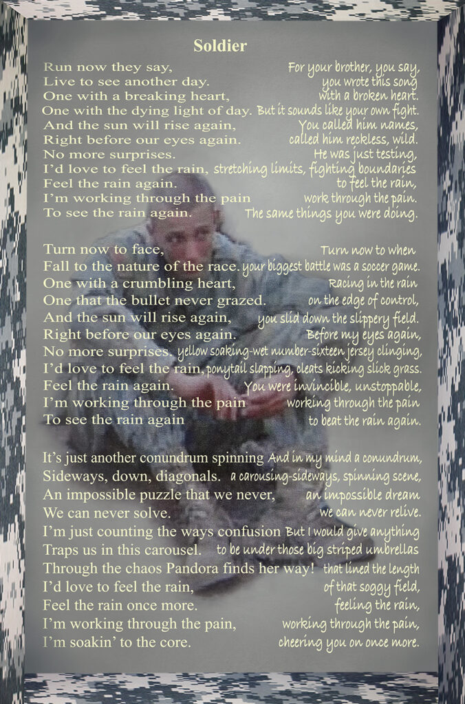 Duetting: Memoir 21 Robin Botie of Ithaca, New York, photoshops an image of a soldier, remembering that each warrior has someone somewhere to whom she is a hero.