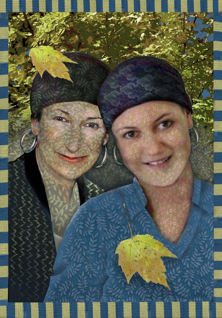 Duetting: Memoir 24 Robin Botie of Ithaca, New York, photoshops Andrea Riddle and Marika Warden wearing headwraps and hoop earrings, as cancer patients.