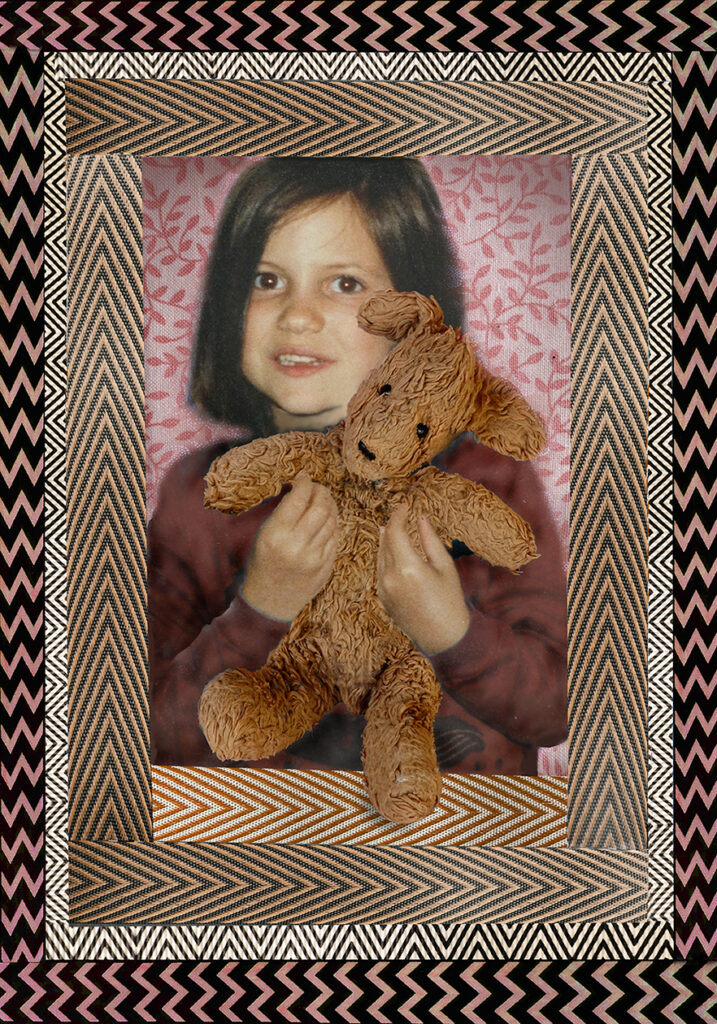 Duetting: Memoir 29 Robin Botie of Ithaca, New York, photoshops an illustration of her child in the hospital with cancer holding her favorite stuffed animal.