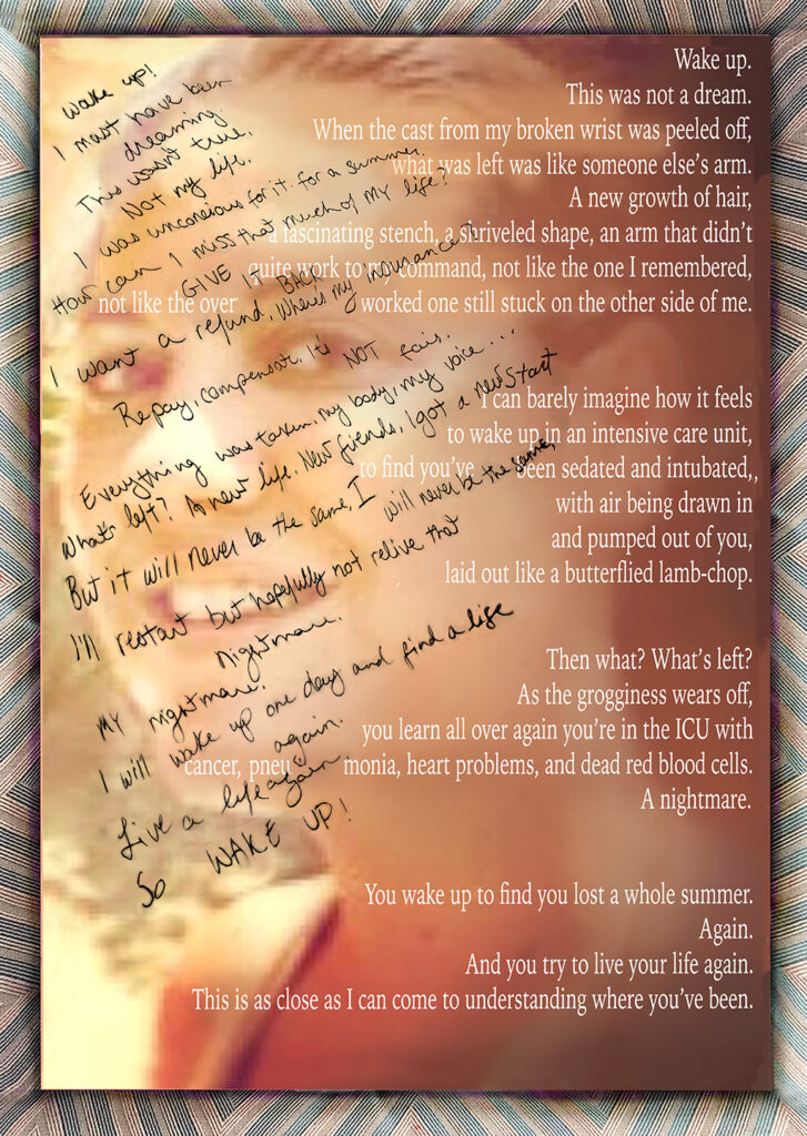 Duetting: Memoir 30 Robin Botie of Ithaca, New York, photoshops her daughter's image under photograph of a handwritten poem superimposed with a typed poem, all about waking up and starting a new life.