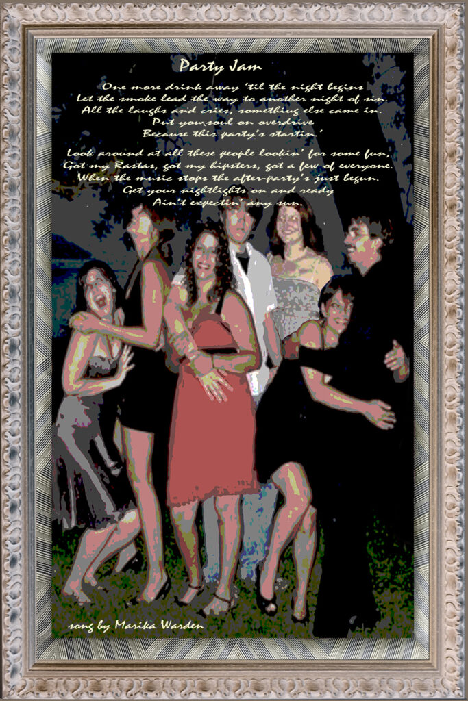 Duetting: Memoir 34 Robin Botie of ithaca, New York, photoshops a party scene to illustrate her daughter's first apartment, and adds her daughter's poem about partying.