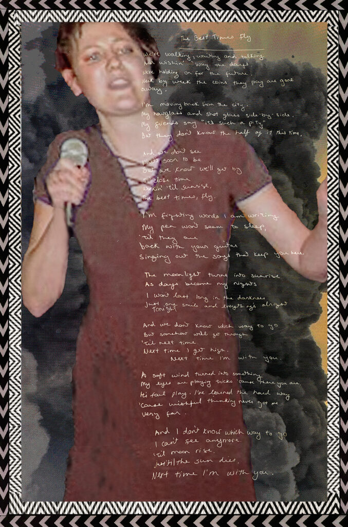 Duetting: Memoir 35 Robin Botie of Ithaca, New York, photoshops an old photo of her daughter, Marika Warden, singing at her concert, making beautiful trouble.
