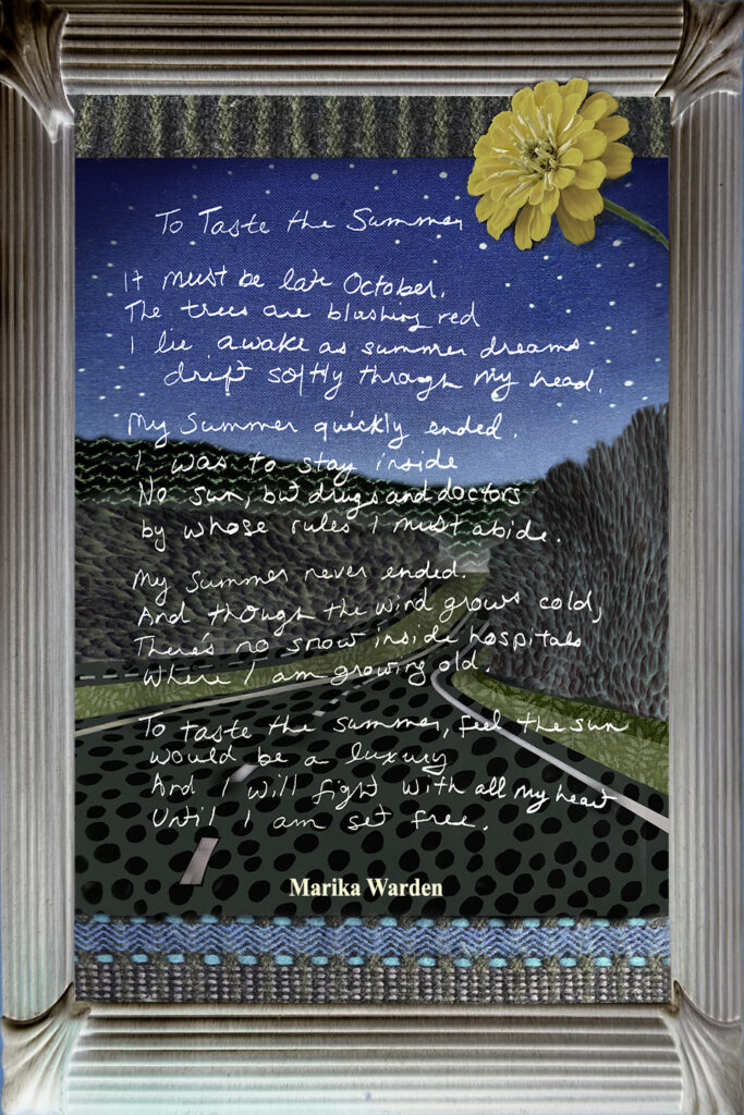 Duetting: Memoir 38 Robin Botie of Ithaca, New York, photoshops her daughter's poem onto a scene of driving the highway at night.