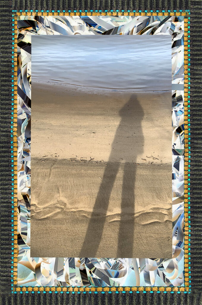 Duetting: Memoir 54 Robin Botie of Ithaca, New York, photoshops her shadow on a beach in illustrating her grief journey to Australia to scatter her daughter's ashes.