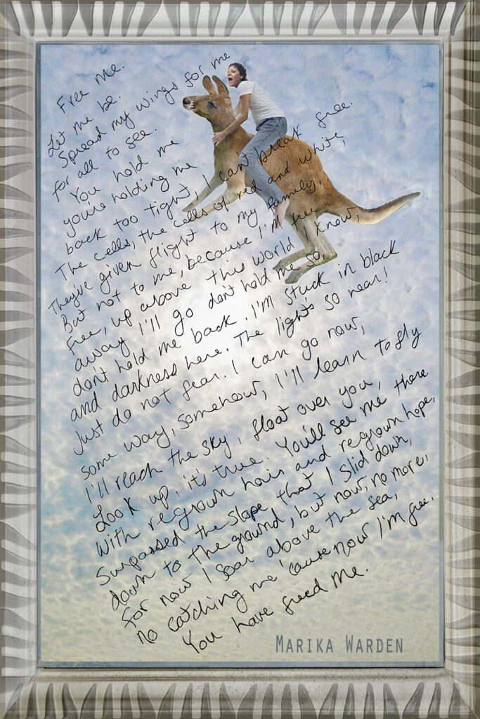 Duetting: Memoir 60 Robin Botie of Ithaca, New York photoshops her daughter who died of leukemia, riding a kangaroo, for her blog about spreading ashes and setting souls free.