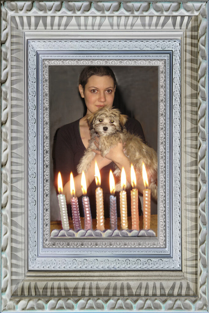 Duetting: Memoir 64 Robin Botie of Ithaca, New York photoshops a memory of lighting candles on birthday cakes for her daughter who died.