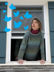 friend of Robin Botie in Ithaca, New York, calls out her window to blue twittwer birds