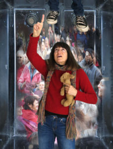 Robin Botie of Ithaca, New York, delivers her elevator speech in photoshopped elevator filled with people